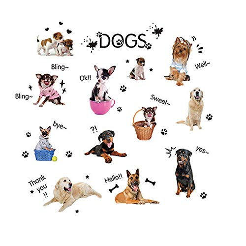 Assorted Pet Dog Puppy Wall Stickers Decal for Kindergarten Children's Room Decoration