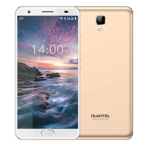 OUKITEL OK6000 Plus Unlocked Smartphones, 5.5 '' FHD MT6750T Octa-Core, 4GB RAM 64GB ROM Unlocked Cell Phones, 16MP Cameras, 6081mAh Big Battery, Dual Sim, Fingerprint Recognization-Gold