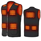 MZQQ USB Electric Heated Vest for Men Women Outdoor Motorcycle Riding Hunting Camping Smart Electric Heating Vest (Color : Black, Size : S)