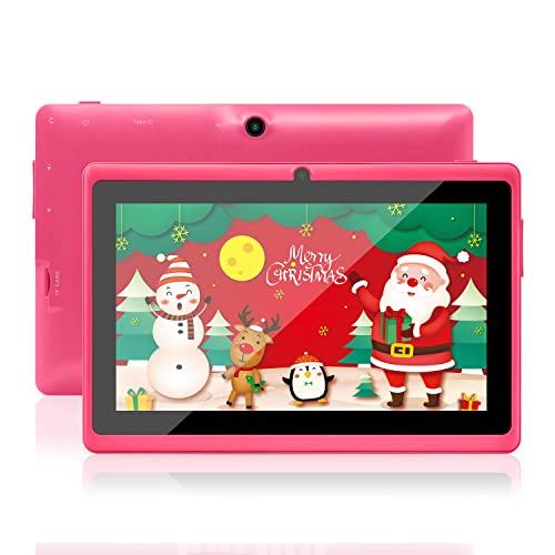Haehne 7' Tablet PC, Android 10.1 OS, Certificado por GMS, Quad Core 2G RAM 32GB ROM, Cámaras Duales 2.0MP+0.3MP, WiFi, Bluetooth, 1024*600 HD,Rosado