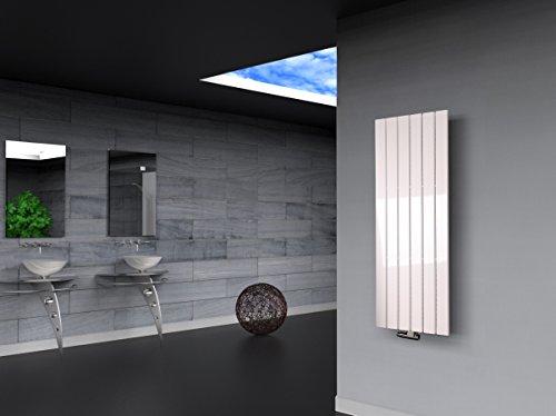 Badheizkörper Design Peking 2, HxB: 120 x 47 cm, 799 Watt, weiß (Marke: Szagato) Made in Germany/Bad und Wohnraum-Heizkörper (Mittelanschluss)
