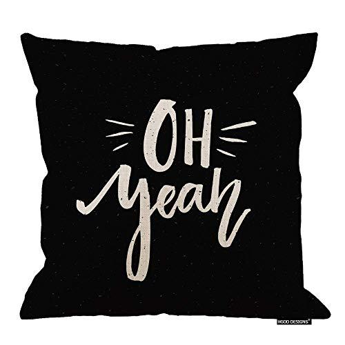 Funda de almohada divertida, de lino y algodón, con texto en inglés 'Oh Yeah'