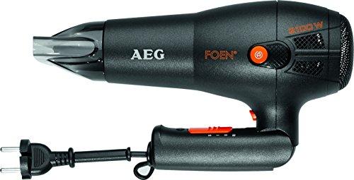 AEG HT 5650 - Secador de pelo profesional iónico, 3 niveles de temperatura, mango abatible con recogecable, 2100 W, color negro