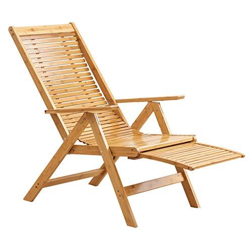 WPL Silla Plegable Silla Plegable, reclinable de bambú fácil de Ajustar Respaldo con apoyabrazos y reposapiés telescópico for Acampar, al Aire Libre, jardín, etc. Silla de Camping (Color : B)