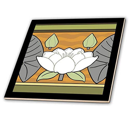 3dRose weiß Jugendstil Seerose Design–Keramik Fliesen, 4-Zoll (CT 220864_ 1)