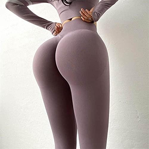 HAIBI Pantalones Yoga Mujer Leggings Señoras De Cintura Alta Yoga Deporte Sin Costuras Legging Elástico Gimnasio Entrenamiento Medias Deporte Pantalones Corrientes, L