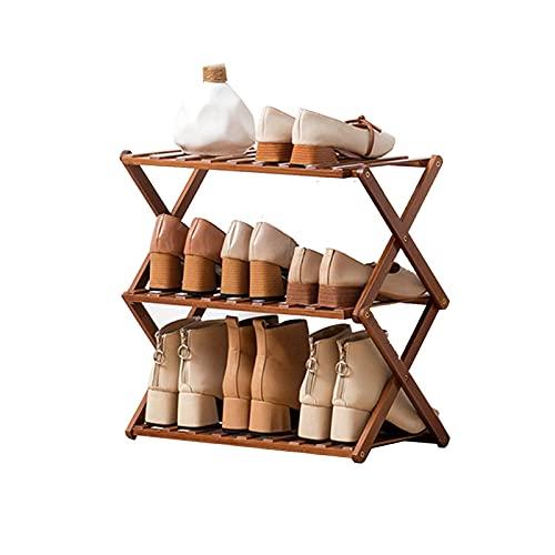 ZAIHW Zapatero, 3 Niveles, Plegable, de bambú, Estante para Zapatos, Organizador de Almacenamiento para el Pasillo del baño de la Sala de Estar, 50 × 25 × 39 cm