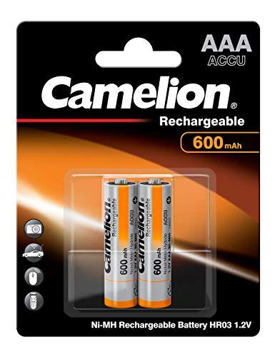 Camelion 17006203 - Ni-MH Rechargable Batterien AAA / HR03, 2 Stück, Kapazität 600 mAh, wiederaufladbar, für elektronische Geräte zur Sicherstellung einer optimalen Energieversorgung