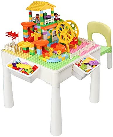 Xuteeya Activity Blocks Table Set 5 ☆ very popular for Max 56% OFF 100pcs Marble with Kids Ru