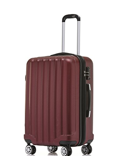 BEIBYE TSA-Schloß 2080 Hangepäck Zwillingsrollen neu Reisekoffer Koffer Trolley Hartschale Set-XL-L-M(Boardcase) (Weinrot, XL)