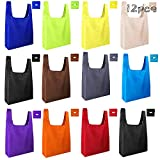 FEPITO 12 Pack Foldable Shopping Bags Reusable Shopping Bags with Pouch Reusable Grocery Bags for Groceries,Shopping,Travel (Colorful)