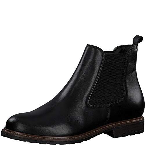 Tamaris Damen Stiefeletten, Frauen Chelsea Boots, halbstiefel Schlupfstiefel flach weiblich Lady Ladies Women's Women,Black Leather,40 EU / 6.5 UK