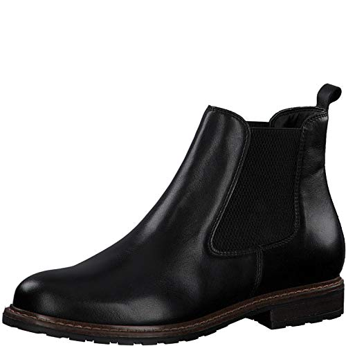 Tamaris Damen Stiefeletten, Frauen Chelsea Boots, Stiefel halbstiefel Bootie Schlupfstiefel weiblich Lady Ladies Women\'s,Black Leather,38 EU / 5 UK
