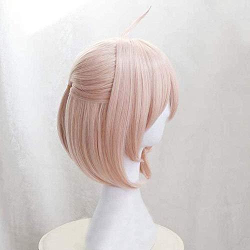 Peluca de pelo recto Bob corto Anime Cosplay Pelucas rosas Pelucas sintticas resistentes al calor para Souji Okita Sakura Saber Fate/Grand Order FGO para nias Peluca