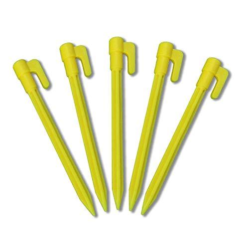 KINGLAKE 30 pcs 14,5 cm Gelb Kunststoff heringe für Zelt, Kunststoff Zeltnagel Garten Befestigung Heringe Erdnagel Erdanker für unkrautvlies Zelt