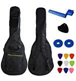 YMC 34 Inch Waterproof Dual Adjustable Shoulder Strap Acoustic Guitar Gig Bag 5mm Padding Backpack with Accessories - For 34' Acoustic Classic Guitar