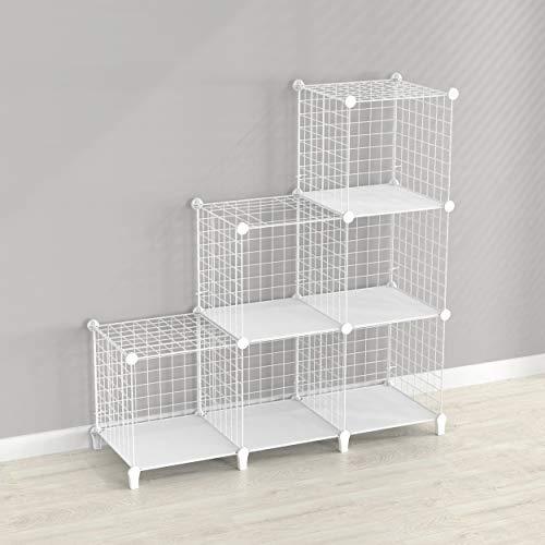 SIMPDIY estanteria Modular Malla Almacenamiento, librería Armario 6 Cubos,...