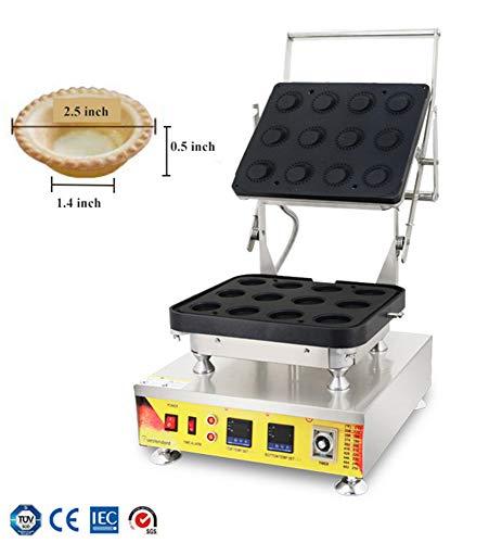 NP-846 Cáscara de tarta de huevo eléctrica doble digital para máquina de hacer tartas, pasteles, pasteles, maquinaria de fabricación antiadherente, acero inoxidable, 12 agujeros 110V plata