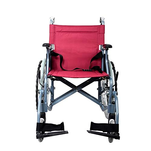 Silla de Ruedas Wheelchair Sillas de Ruedas Aluminio silla de ruedas silla de ruedas plegable de peso ligero con Pneumatic Tire, Estructura de soporte for doble Cruz, Rojo, Apto for personas mayores y