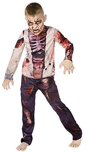 Zombie Muchacho 3D - Traje de Halloween - Niños Disfraz - Medium - 128Cm - Edad 6-8