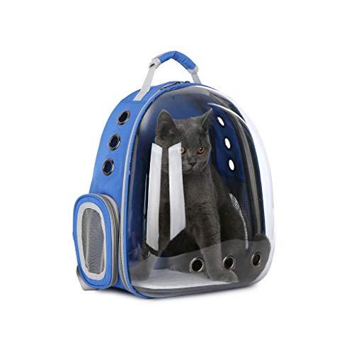 JXLBB Espace pour Animaux de Compagnie Sac pour Chat Sac pour Chat avec Sac à Dos à bandoulière et Sac à bandoulière avec Cabine Transparente et Respirante (Color : Blue)
