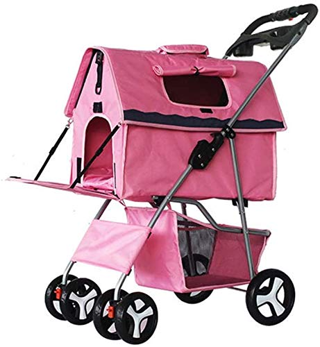 Pet Four Travel Trolley, Trolley carts Puppy Dog Jogger Collapsible Liner Transporter,Pink