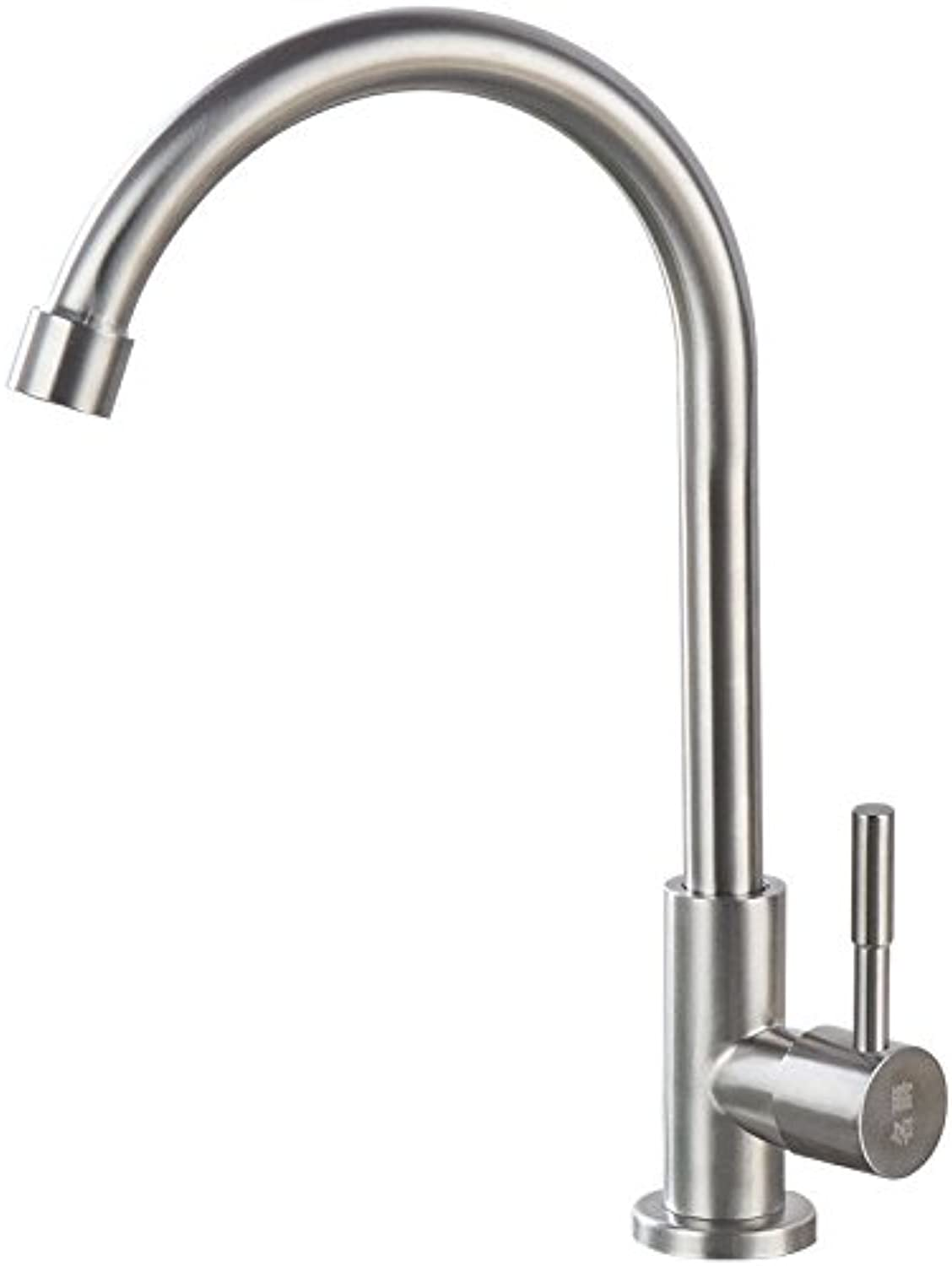 AQMMi Basin Sink Mixer Tap for Lavatory 304 Stainless Steel Single Cold Bathroom Vanity Sink Faucet