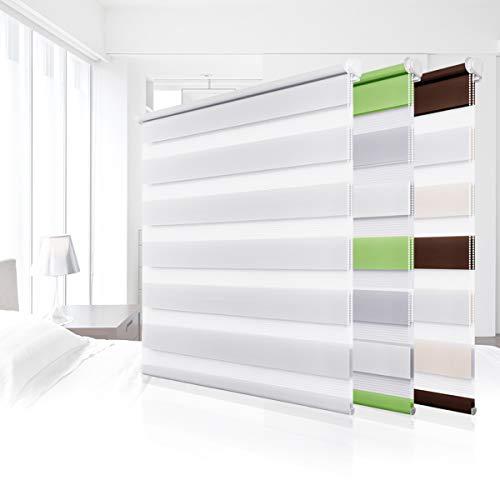 Homland Estor doble Klemmfix Duo Estor sin agujeros, para ventanas y puertas, estor plegable con soportes de sujeción, estor translúcido y opaco, color blanco, 45 x 150 cm (ancho x alto)