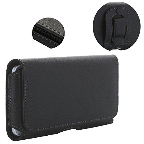 XiRRiX Handy Gürteltasche 1.4 3XL-2 Tasche mit Stahlclip passend für Samsung Galaxy A6 J6 2018 A20E Note 10 / Huawei P20 Lite/Honor 9 Lite - Handytasche schwarz