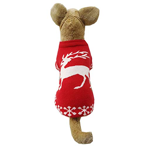 Weihnachten Hundebekleidung,TWBB Neujahr Haustierkleidung Hunde Sweatshirt Rentier Drucken Hundepullover Winter Warme Süß Gestrickt Häkeln Hundemantel Hundejacke Pullover Shirt