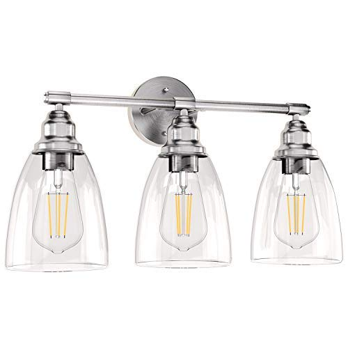 Wall Vanity Light Fixture, 3-Light Brushed Nickel Wall Sconce Lighting with Glass Shade, Modern Vintage Porch Wall Lamp for Mirror Kitchen Living Room Workshop (E26 Base)