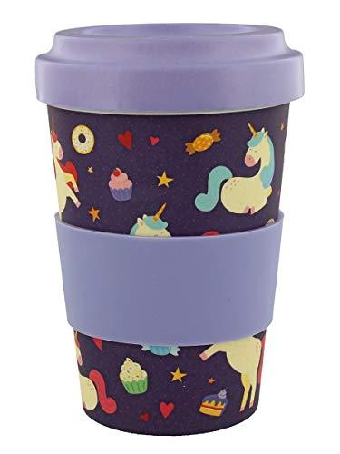 Bambus Kaffeebecher für den Coffee To Go mit Einhörner-Motiv, biologisch abbaubare Bambusfaser, mit Schraub-Deckel und Silikon-Manschette, ökologische Alternative zum Einwegbecher, 14x9x9 cm