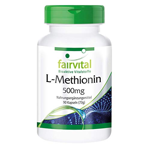 L-Metionina 500mg - VEGANA - Dosis elevada - Aminoácido - 90 Cápsulas - Calidad Alemana