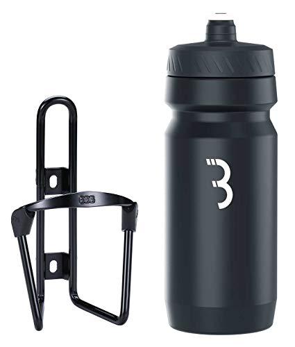 Bbb Cycling Botella de Agua Unisex de 550 ml y combinación de Jaula para Bicicletas de Ajuste Universal Negro Mate y Blanco Combo FuelTank Comptank BBC-03C, 550 ml