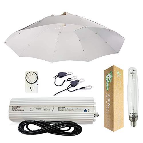 Hydro Crunch K2-B1-R15-NL01 1000-Watt HPS Grow Light System 42 in. Parabolic Vertical Umbrella Hood Reflector, 1000W, White