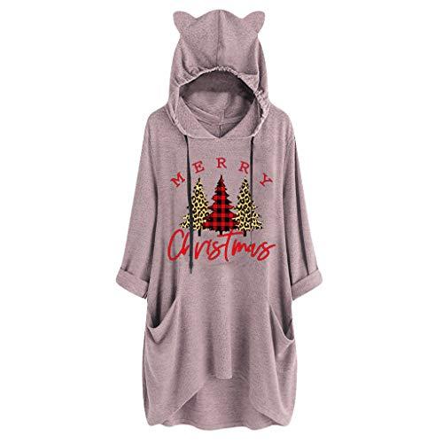Supertong Große Größen Kapuzenpullover Damen Weihnachtsbaum Print Hoodie Kleid mit Katzenohren Kapuzenpulli Mädchen Mode Oversize Lange Pullover Weihnachtskleider Knielanges Langarm Sweatshirt