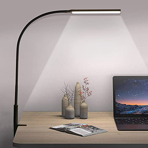 Lámpara Escritorio LED 10W Lámpara de Lectura Flexo de Escritorio, 360° Cuello Flexible, Protección Ocular Mesa Lámpara 3 Modos Color Regulable para Estudio, Oficina, Negro