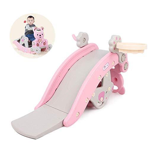 XIUYU Slide niño y Escalador Escaleras del Caballo de oscilación, 3 en 1 Deslice Playset del aro de Baloncesto /, los pequeños Cabritos Multi Juguetes for Tanto en el Interior del Patio Trasero, Rosa