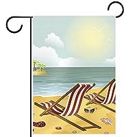 ウェルカムガーデンフラッグ(28x40inch)両面垂直ヤード屋外装飾,2つの長椅子のビーチ