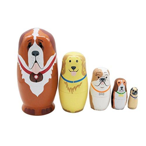 ULTNICE 5Pcs Babuschka Verschachtelung Matroschka Holz Hündchen Russian Nesting Dolls