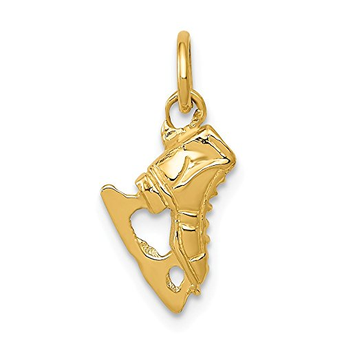 Black Bow Jewellery Company Mini 3D Charm-Anhänger Eislaufschuh, 14 Karat Gelbgold