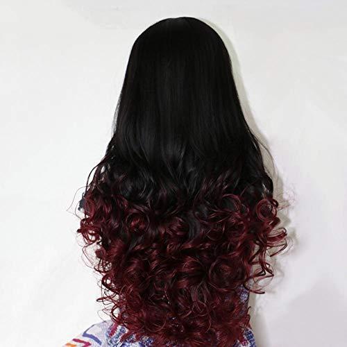 IQMEI Perücke Große Welle Perücke Dame Mode lange lockige Haare gefärbt Gradienten Birne Blumenrolle große Welle Perücke Dame Haarverlängerung @ Rotwein