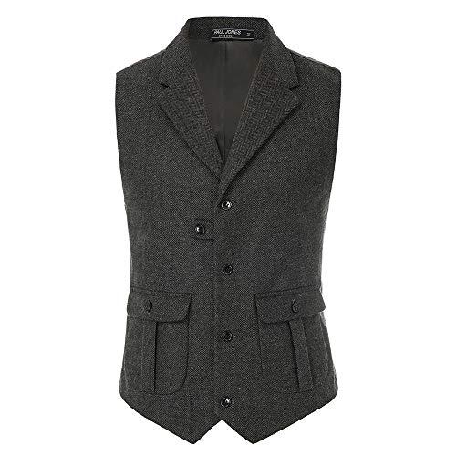 PaulJones Herren Fischgrät Tailed Collar Weste Wolle Tweed Anzug Weste mit Klappentaschen Dunkelgrau-1 XL