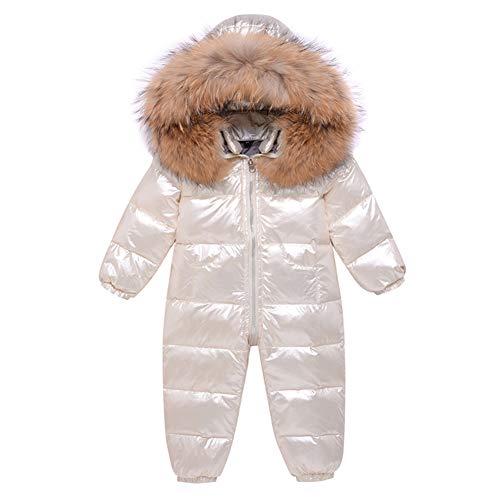 LSHEL Baby Schneeanzug Jungen Strampler Mädchen Overall Winter Babykleidung, Weiß, 74-80