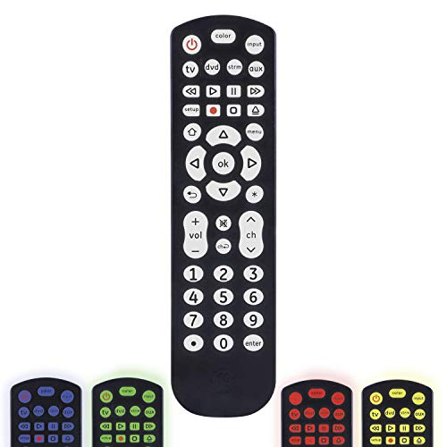 GE Color Select Backlit Universal Remote Control for Samsung, Vizio, LG, Sony, Sharp, Roku, Apple TV, RCA, Panasonic, Smart TV, Streaming Players, Blu-Ray, DVD, 4-Device, Black, 44220