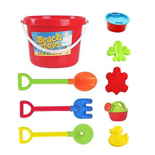 TLM Toys Set di giocattoli per la sabbia, giocattoli da spiaggia, giocattoli per la sabbia, giocattoli con 9 articoli, tra cui secchio, pala, giocattolo per la sabbia, per bambini dai 3 ai 10 anni