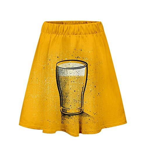 ODRD Ladies'3D Beer Festival Drucken Easy Casual Short Skirt
