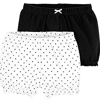Carter's Baby Girls' 2-Pack Bubble Shorts (24 Months, Black/White/Dots)