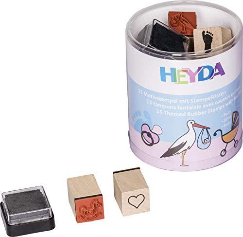 Heyda 204888485 Heyda 204888485 Stempel-Dose (Baby) Motivgröße: ca. 1,5 x 1,5 cm, 15 Holz-Stempel