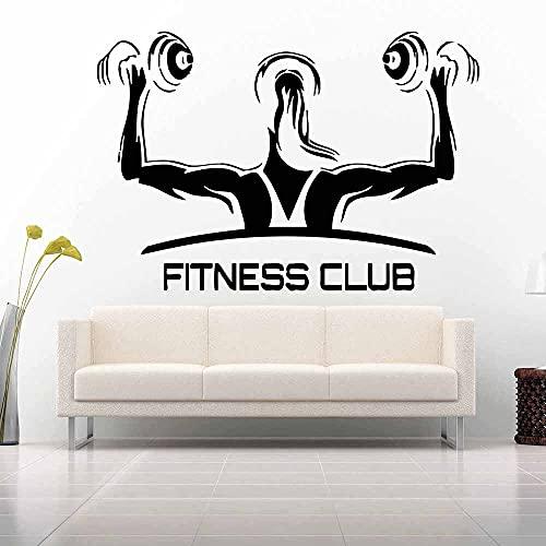 HGFDHG Logotipo del Club de Fitness calcomanía de Pared niña Mujer Entrenamiento Deportes Barra Ejercicio Gimnasio calcomanía Interior Puerta Ventana Vinilo Adhesivo Mural